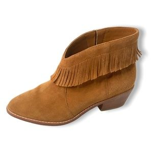 JOIE Suede Leather Cognac Booties with Fringe 36